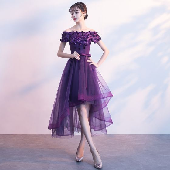 Chic / Beautiful Purple Cocktail Dresses 2017 A-Line / Princess Bow Appliques Crystal Off-The-Shoulder Backless Asymmetrical Formal Dresses