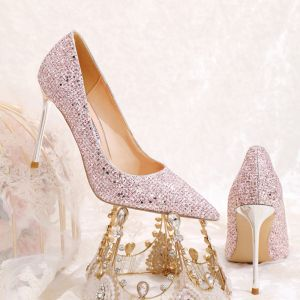 Sparkly Lovely Blushing Pink Sequins Wedding Shoes 2020 10 cm Stiletto Heels Pointed Toe Wedding Pumps