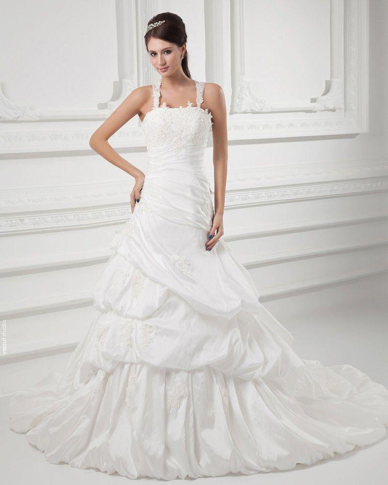 Taffeta Beads Applique Pleated Spaghetti Straps Court Train A Line Wedding Dress