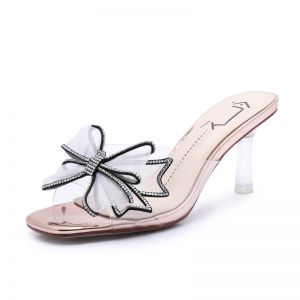 Mode Champagne Streetwear Sandaler Dame 2020 Rhinestone Sløjfe 7 cm Stiletter Peep Toe Sandaler