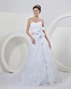 Blomma Skarp Kapell A-linje Brudklänningar Bröllopsklänningar
