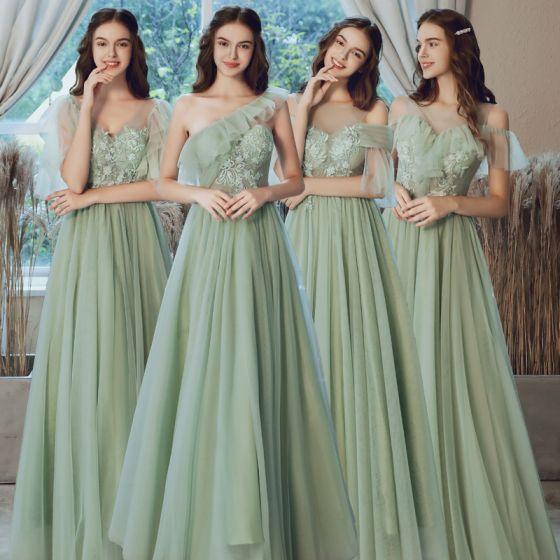 Betaalbare Saliegroen Doorzichtige Bruidsmeisjes Jurken 2020 A lijn Ruglooze Appliques Kant Lange Ruche