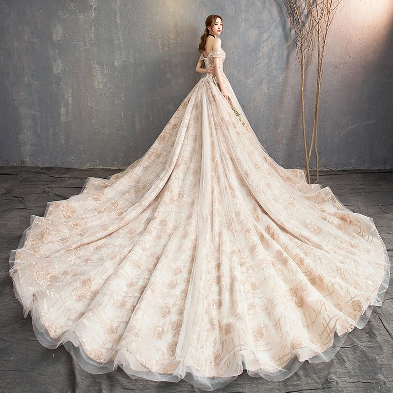 Elegant Champagne Wedding Dresses 2018 A-Line / Princess Off-The-Shoulder Short Sleeve Backless Glitter Embroidered Cathedral Train Ruffle
