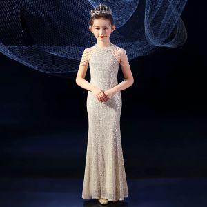 Sparkly Gold Sequins Birthday Flower Girl Dresses 2020 Trumpet / Mermaid Scoop Neck Sleeveless Beading Floor-Length / Long