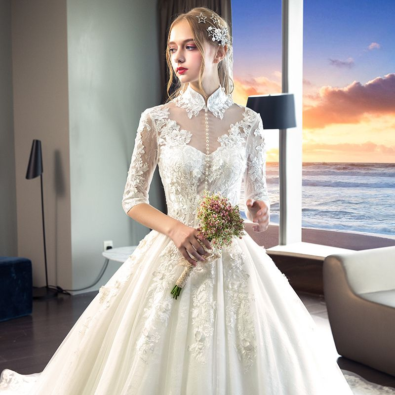 Chinese style Ivory Wedding Dresses 2019 A-Line / Princess High Neck Appliques Lace Flower Pearl 1/2 Sleeves Backless Cathedral Train
