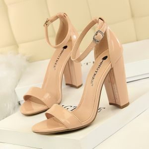 Affordable Nude Casual Womens Sandals 2020 Suede Ankle Strap 9 cm Thick Heels Open / Peep Toe Sandals