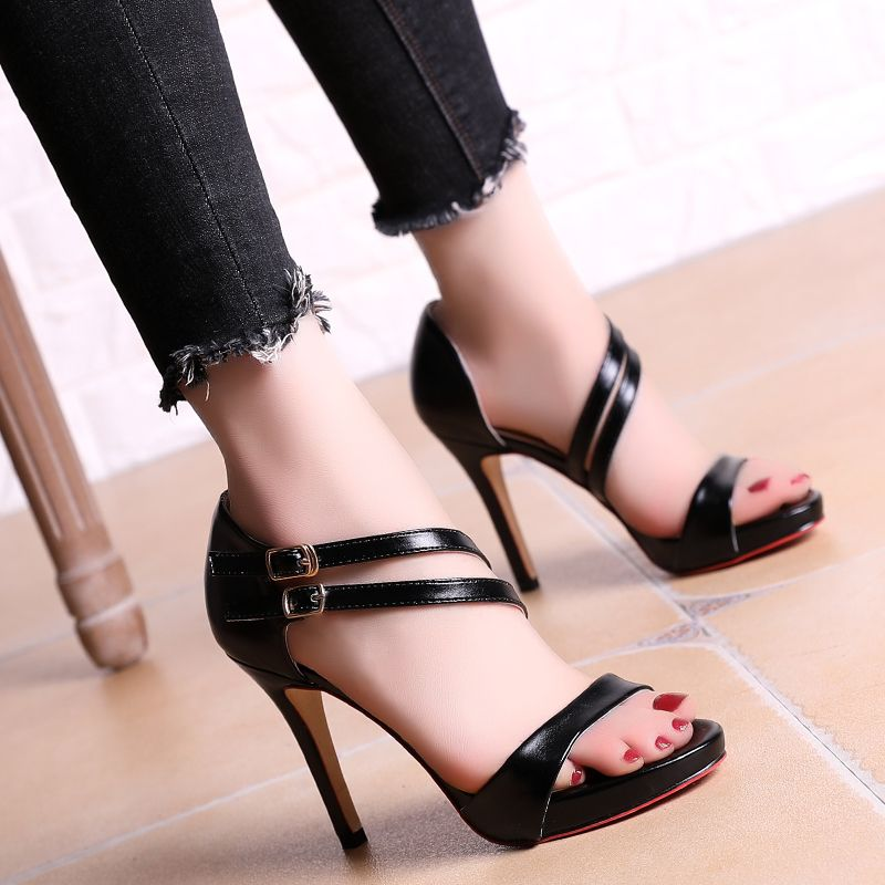 Chic / Beautiful Evening Party Pumps 2017 PU Buckle Strappy High Heel Open / Peep Toe Pumps