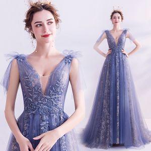 Charming Ocean Blue Evening Dresses  2020 A-Line / Princess V-Neck Crystal Sequins Lace Flower Short Sleeve Backless Floor-Length / Long Formal Dresses