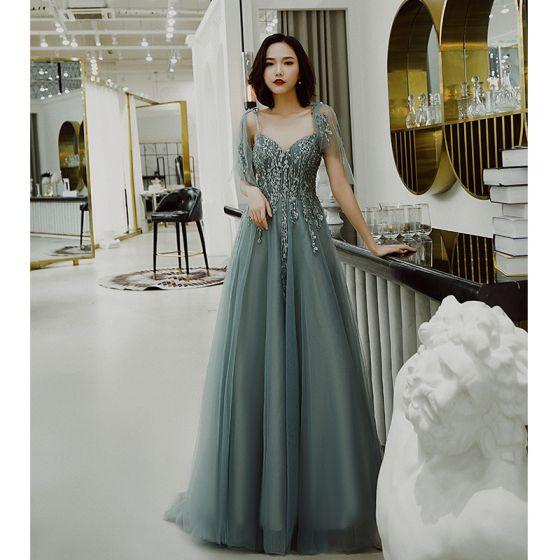 Snygga / Fina Jade Grön Aftonklänningar 2019 Prinsessa Spaghettiband Rosett Beading Spets Blomma Ärmlös Halterneck Svep Tåg Formella Klänningar