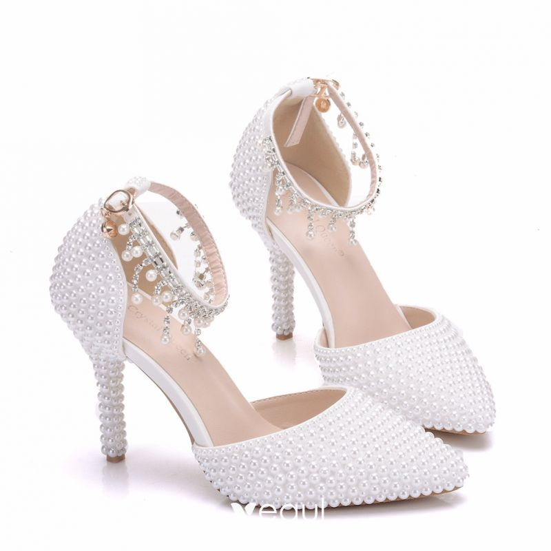 f547811de42 Charming White Wedding Shoes 2018 Pearl Rhinestone Tassel 9 cm ...