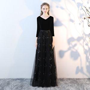 Chic / Beautiful Black Prom Dresses 2017 A-Line / Princess V-Neck 3/4 Sleeve Floor-Length / Long Formal Dresses