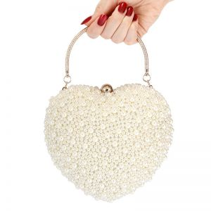 Amazing / Unique Champagne Pearl Heart-shaped Wedding Clutch Bags 2020