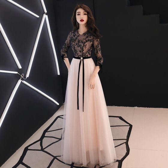 671899989 Hermoso Negro Vestidos de noche 2019 A-Line   Princess V-Cuello Rebordear  Con Encaje Flor Bowknot ...