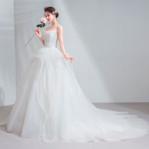 Classy Ivory Wedding Dresses 2020 Ball Gown Spaghetti Straps Lace Flower Sleeveless Backless Chapel Train