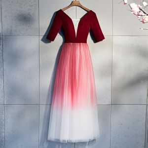 Chic / Beautiful Burgundy Evening Dresses  2019 A-Line / Princess V-Neck Suede 1/2 Sleeves Backless Sequins Floor-Length / Long Formal Dresses