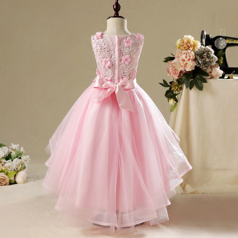Chic / Beautiful Hall Wedding Party Dresses 2017 Flower Girl Dresses Blushing Pink Asymmetrical Ball Gown Scoop Neck Sleeveless Lace Appliques Flower Pearl Rhinestone