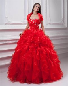 Ball Gown Organza Ruffle Beading Applique Sweetheart Floor Length Quinceanera Prom Dresses
