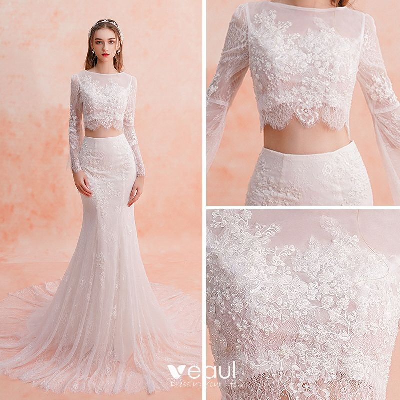 Lace Wedding Gown: 2 Piece Ivory Beach Lace Wedding Dresses 2019 Trumpet