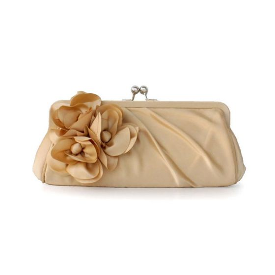 Sweet Lady Fashion Silk Clutch Bag Flower Decoration Bridesmaid Handbags Small Bag