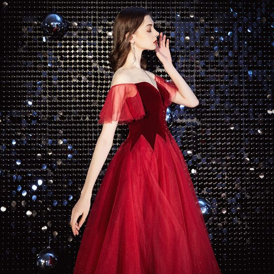 Charming Red Short Prom Dresses 2020 A-Line / Princess Deep V-Neck Sequins Suede Short Sleeve Tea-length Formal Dresses