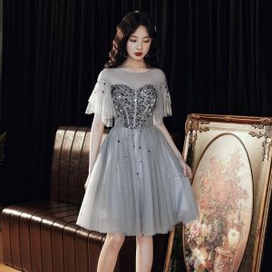 Chic / Beautiful Grey Cocktail Dresses 2020 A-Line / Princess See-through Scoop Neck Short Sleeve Sequins Beading Knee-Length Ruffle Backless Formal Dresses