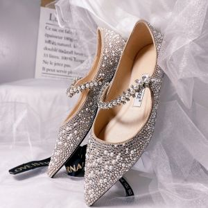 Charmig Silver Läder Platt Brudskor 2020 Pärla Rhinestone Spetsiga Platt Bröllop Klackskor