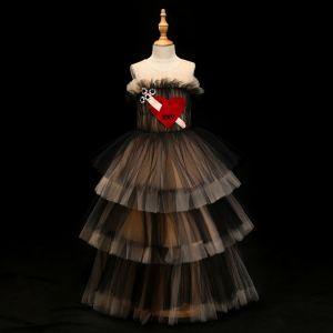 Chic / Belle Robe Ceremonie Fille 2017 Robe Boule Forme de coeur Encolure Dégagée Sans Manches Longue Robe Pour Mariage