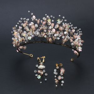 Gekleurde Zwarte Bruidssieraden 2020 Legering Kralen Pailletten Tiara Oorbellen Huwelijk Accessoires