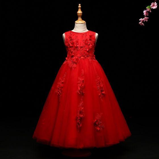 Schöne Burgunderrot Mädchenkleider 2017 A Linie Applikationen Perlenstickerei Rundhalsausschnitt Rückenfreies Ärmellos Knöchellänge Kleider Für Hochzeit