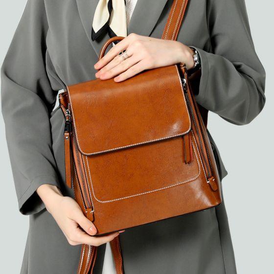 Vintage Tan Quadratische Schulranzen Rucksäcke 2021 Leder Freizeit Damentaschen