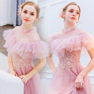 Vintage / Retro Lovely Candy Pink Evening Dresses  2019 A-Line / Princess High Neck Pearl Sequins Lace Flower Short Sleeve Floor-Length / Long Formal Dresses