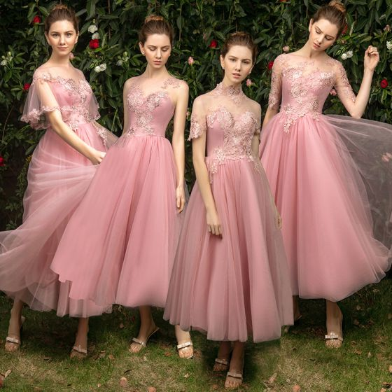 Modern / Fashion See-through Pearl Pink Bridesmaid Dresses 2019 A-Line / Princess Appliques Lace Tea-length Ruffle Backless Wedding Party Dresses