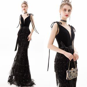 Schöne Schwarz Abendkleider 2019 Meerjungfrau V-Ausschnitt Pailletten Quaste Schleife Ärmellos Rückenfreies Lange Festliche Kleider