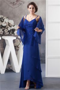 2015 Elegant A-line V Neck Spaghetti Straps Beading Cascading Ruffles Mother Of The Bride Dress With Shawl