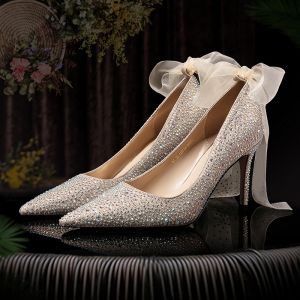 Charming Rose Gold Wedding Shoes 2020 Leather Bow Rhinestone 8 cm Stiletto Heels Pointed Toe Wedding Pumps