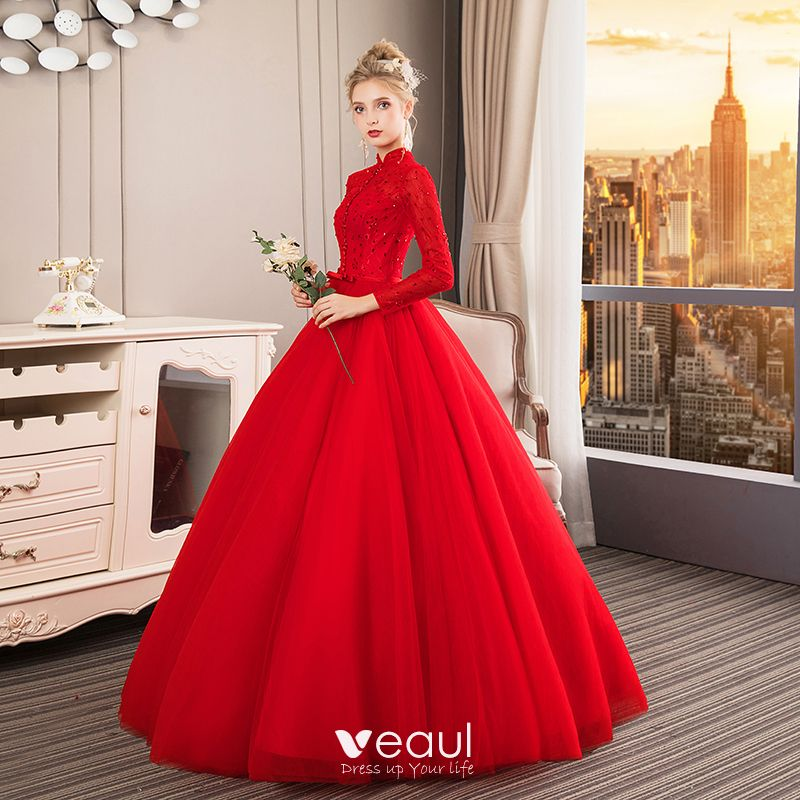 Red Wedding Dresses: Chinese Style Muslim Red Wedding Dresses 2019 Ball Gown