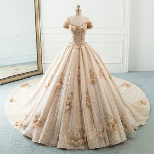 Luxury / Gorgeous Champagne Wedding Dresses 2019 A-Line / Princess Off-The-Shoulder Puffy Flower Short Sleeve Backless Beading Pearl Rhinestone Cathedral Train Ruffle