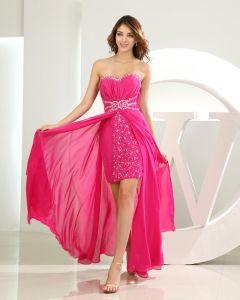 Chiffon Silk Like Satin Silk Beading Sweetheart Sleeveless Zipper Floor Length Pleated Prom Cocktail Dress
