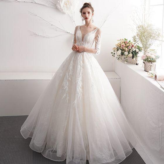 Chic / Belle Ivoire Robe De Mariée 2019 Princesse V-Cou Perlage Perle En Dentelle Fleur 3/4 Manches Dos Nu Longue