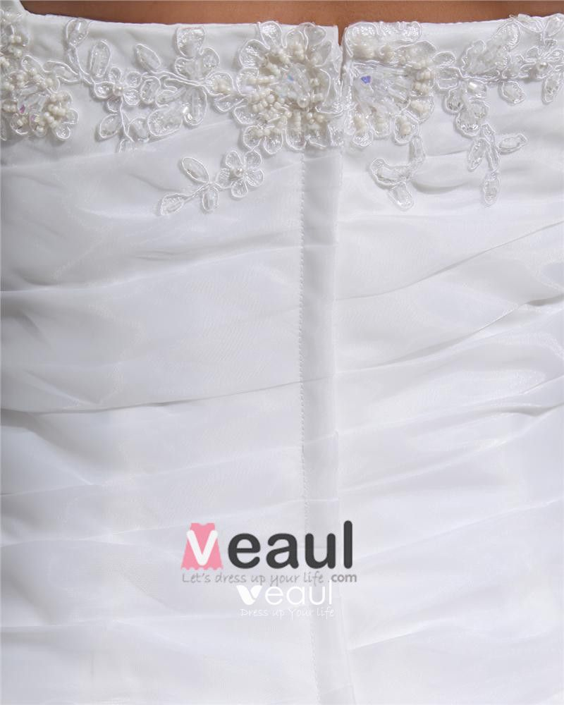 Shoulder Straps Pleated Beading Organza Chapel Train Mermaid Wedding Dress