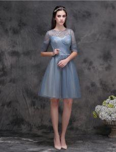 Eleganten U-ausschnitt Rüsche Tinte Blau Cocktailkleider Mit Perle