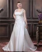 Satin Beaded Embroidery Spaghetti Straps Court Plus Size Bridal Gown Wedding Dress