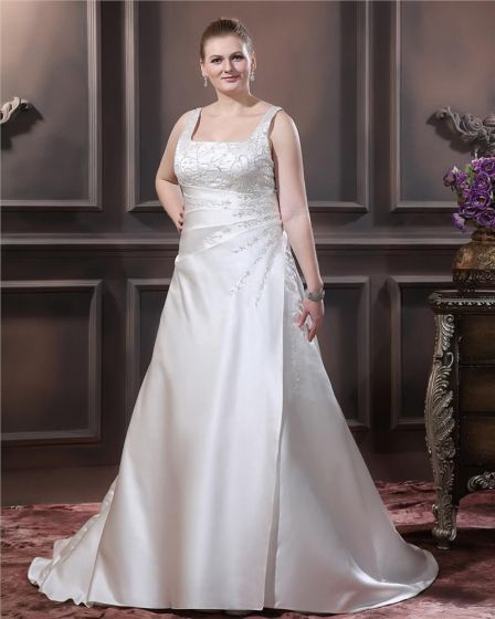 Satin Beaded Embroidery Spaghetti Straps Court Plus Size Bridal Gown Wedding Dress