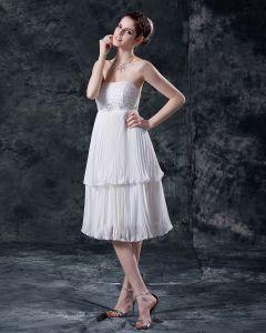 Mini-femmes En Mousseline A Glissiere The Robes De Mariage De Longueur