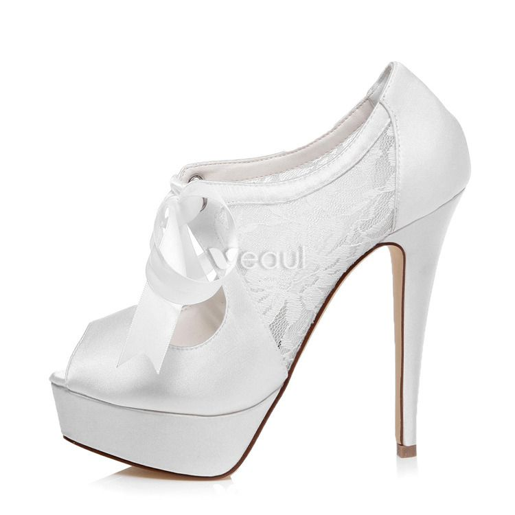 Beautiful Bridal Shoes Lace Wedding Shoes 5 Inch High Heel