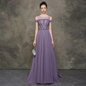 Elegant Grape See-through Evening Dresses  2020 A-Line / Princess Scoop Neck Short Sleeve Beading Sweep Train Ruffle Backless Formal Dresses