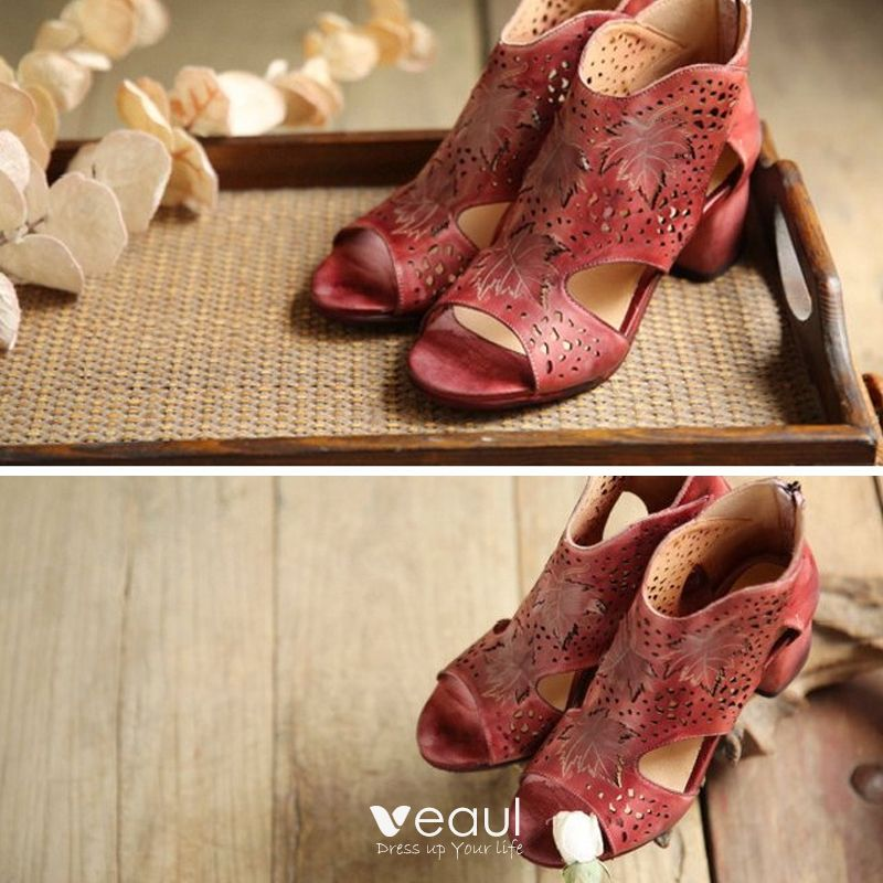 Chic / Beautiful 2017 8 cm / 3 inch Grey Red Casual Outdoor / Garden Leather Summer Pierced High Heels Thick Heels 8 cm Sandals Open / Peep Toe Womens Sandals