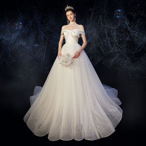 Elegant Ivory Satin Wedding Dresses 2020 A-Line / Princess Off-The-Shoulder Short Sleeve Backless Chapel Train Ruffle