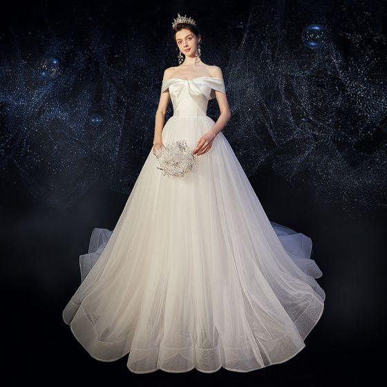 Elegant Ivory Satin Wedding Dresses 2020 A-Line / Princess Off-The-Shoulder Short Sleeve Backless Chapel Train Ruffle