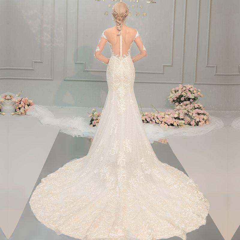 Sexy Champagne Wedding Dresses 2018 Trumpet / Mermaid Lace Flower Pearl Scoop Neck Long Sleeve Chapel Train Wedding